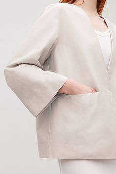 SHORT KIMONO JACKET - Light taupe - Coats and Jackets - COS Cos Jackets, Cotton Kimono, Short Kimono, Suit Shop, Kimono Jacket, Latest Dress, Contemporary Fashion, Kimono Fashion, Minimalist Fashion
