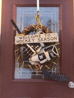 Hockey season wreath I made for our hockey lovin family