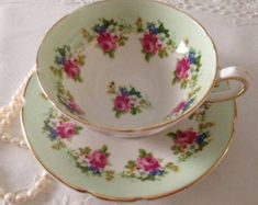 """Items similar to RESERVED FOR S Rare Royal Albert China Tea Cup & Saucer """"Portrait Series"""" Avon Shape on Etsy"""