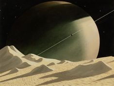 chesley bonestell - saturn seen from enceledus, beyond jupiter, the worlds of tomorrow book illustration, 1972