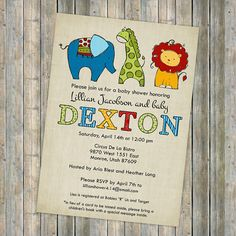 circus animal baby shower invitations, baby shower invitation with colorful animals, Digital, Printable file gender neutral http://www.etsy.com/shop/freshlysqueezedcards