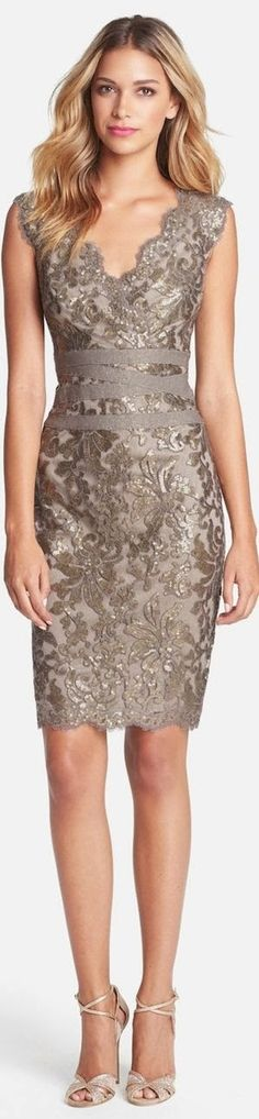 Stylish party dress with matching high heels- Tadashi Shoji Embellished Metallic Lace Sheath Dress- at Nordstrom