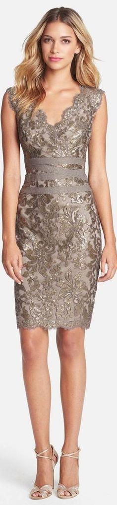 Stylish party dress with matching high heels - Tadashi Shoji Embellished Metallic Lace Sheath Dress- at Nordstrom