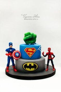 superheroes birthday cake - Cake by Alina Vaganova Avengers Birthday Cakes, Superman Birthday Party, 4th Birthday Cakes, Batman Cakes, Marvel Cake, Superhero Cake, Party Cakes, Mad, Cake Minecraft