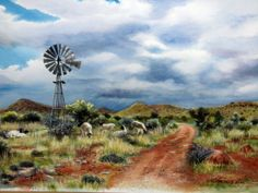 Karoo Farm Landscape by Barbara Philip ~ grazing sheep windmill Watercolor Landscape, Abstract Landscape, Landscape Paintings, Watercolor Art, Stella Art, Sheep Paintings, Oil Paintings, Old Windmills, Building Painting