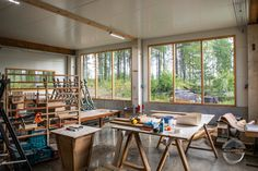 This is the workshop where we do all our woodworking projects. Custom Woodworking, Woodworking Projects, Joinery, Finland, Workshop, Interior, Table, Furniture, Design