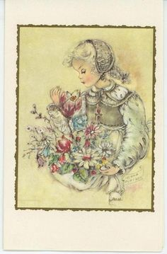 VINTAGE BLONDE CHILD GIRL GARDEM FLOWERS SWISS COSTUME GARDEN MAISON CARD PRINT in Collectibles, Paper, Other Paper Collectibles | eBay