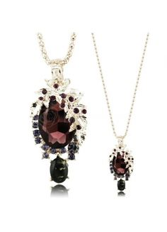 Charming Long Necklace With Burgundy Austria Crystal Water Drop Pendant