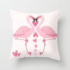 Flamingo Love Throw Pillow $20.00 - http://society6.com/madiillustration/Flamingo-Love_Pillow