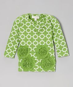 Look at this #zulilyfind! Trish Scully Child Green Rosette Tunic - Infant, Toddler & Girls by Trish Scully Child #zulilyfinds