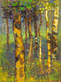 Rick Stevens, Enchanted Aspens, Oil on Canvas, Abstract Landscape Painting, Landscape Paintings, Abstract Art, Rick Stevens, Aspen Trees, Birch Trees, Artist Sketchbook, Paintings I Love, Flower Paintings