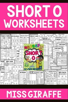 Short O worksheets that are no prep for fun and easy vowels activities to print! Short I Worksheets, Blends Worksheets, Vowel Worksheets, Short Vowel Activities, Vowel Practice, Letter Blends, Short O, Word Sorts, Short Vowels