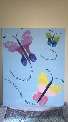 Summer crafts more butterfly footprints Handprint art that is easy for kids, fingers, toes, hands an
