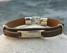 FREE SHIPPING- Men's Bracelet, Men's Leather Bracelet, Thick Brown Leather Bracelet, Men's Cuff bracelet, Bracelets for Men, Bangle Bracelet