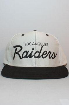 Los Angeles Raiders Snapback Hat (Script) (Gry Blk) by 1a4da5f35638