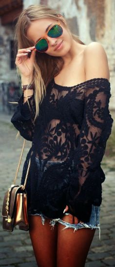 Gorgeous black stylish lace shirt. I have this same one in white & I adore it :)