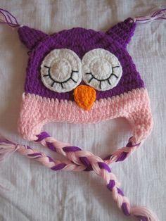 Purple & Pink Crochet Owl Baby Girl Hat. $14.00, via Etsy.