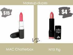 Makeup dupes: MAC Chatterbox vs NYX Fig