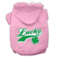 Lucky Swoosh Screen Print Pet Hoodies Light Pink Size Med (12)