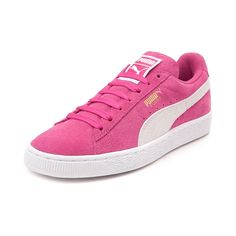 Throw back in old school athletic style with the new Puma Suede Athletic Shoe for ladies! Compliment your sporty style with the Puma Suede Sneaker, featuring soft suede uppers with signature Puma side stripe, and an extra set of laces to customize your look.   <br><br><u>Features include</u>:<br> > Soft suede uppers with breathable mesh lining<br> > Padded tongue and collar provide support and comfort<br> > Lace closure for a secure fit with an additional set of laces<br> > Cushioned footbed…