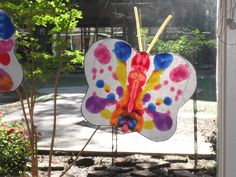 Butterfly Art - trace and cut out a butterfly from white construction paper and fold in half.  Use eye droppers and various paint.  The children will drop paint on one side of the butterfly and when finished, fold back over and the pattern will be the same on both sides.  I used pipe cleaner for the antennas.