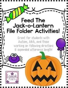 "Your speech and language therapyt students will have a ball getting to the Halloween spirit with this engaging ""feed the jack-o-lantern"" activity! Students can follow step-by-step directives to complete the tasks. Additionally, there are follow-up activities, different versions of the jack-o-lantern, and more! Work on vocabulary, sentence formulation/expansion, following directions, syntax, wh questions, categorization, describing, and more!"