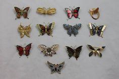 Lot 13 Pin Brooch Butterfly Butterflies Rhinestone Painted Enamel Costume  #Unbranded