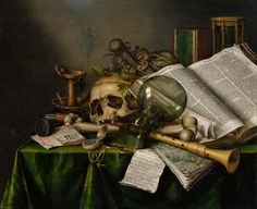 Vanitas (Still Life with Books, Manuscripts, and a Skull), Evert Collier, 1663.  The Lion of Chaeronea