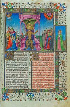 L'adoration de la bête sur son trône, f.25r, attribuée à Peronet Lamy Apocalypse figurée des ducs de Savoie