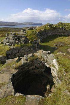 Ancient Iron Age Broch of Dun Beag, Struan, Isle of Skye, Inner Hebrides, Scotland.