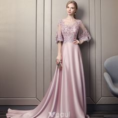 Modern / Fashion Candy Pink Pierced Evening Dresses 2018 A-Line / Princess Scoop Neck 1/2 Sleeves Appliques Lace Sequins Beading Cathedral Train Ruffle Backless Formal Dresses