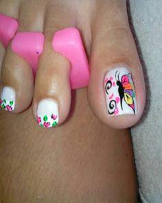 decoracion de uñas pies mariposas Nail Polish Art, Toe Nail Art, Toe Nails, Cute Pedicure Designs, Cute Pedicures, Nailart, Different Nail Designs, Pedicure Nail Art, Toe Nail Designs