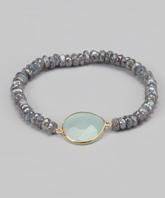 Labradorite, Gold & Sea Green Chalcedony Stretch Bracelet