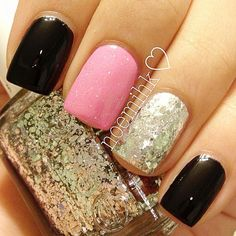 Pink Sparkles | black pink glitter nails » Favnails
