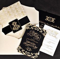East Six Invitations, Wedding Invitations, Letter Press, Gold Foil, Champagne, Black and Gold, Detail, Invite.