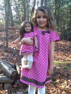 Matching Girl and American Girl doll clothes - Pink and Brown Corduroy dress