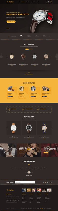 Hitron is a modern and creative PSD template for stunning #watch shop #eCommerce website with 14 unique homepage layouts and 52 layered PSD files download now➩ https://themeforest.net/item/hitron-multistore-psd-template/19514996?ref=Datasata