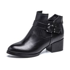 AOKANG 2016 winter new pattern women boots PU leather shoes square heel Martin fashion boots for women black female lady shoes