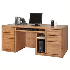 Martin Home Furnishings - Contemporary Office Double pedestal computer desk - 00685 Best Home Office Desk, Home Office Furniture, Cool Furniture, Craftsman Desks, Modern Craftsman, Contemporary Office, Contemporary Furniture, Martin Furniture, Work Station Desk
