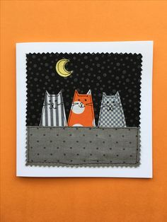 applique facing so the cat cut outs don't fray? greeting card 'aristo cats'