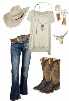 Pin by reanna galusha on my style country style outfits, cute country outfi Country Girl Outfits, Country Girl Style, Country Fashion, Western Outfits, Western Wear, Country Girls, Country Girl Jewelry, Cute Cowgirl Outfits, Mode Country