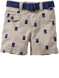 Belted Printed Shorts for Baby