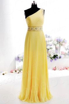 Simple A-Line One shoulder Floor Length Chiffon Bridesmaid Dress with Pleating and Crystals COSF14005