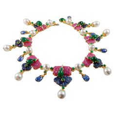 tony duquette jewelry | Ruby, Sapphire, Diamond, Emerald and Pearl in 18K Gold, $126,000