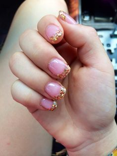 Gold short acrylic nails