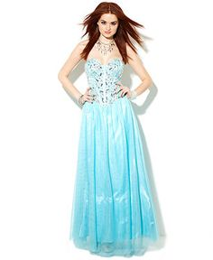 B Darlin Juniors Dress, Strapless Bustier Gown - Juniors Prom Dresses - Macy's