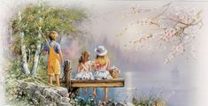 Children Fishing  by  Andres Orpinas Cypress Fine Art Licensing
