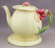 Royal Winton Large Tea Pot & Trivet Tiger Lily Vintage English China # 5773   in Pottery, Glass, Pottery, Porcelain, Royal Winton, Grimwades | eBay!