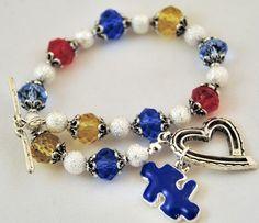 Crystal Beaded Autism Awareness Bracelet with blue Autism Speaks Puzzle Piece Charm - Handmade Autism Jewelry