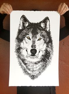 Art Print of WOLF head Poster on grey paper by alittlelark on Etsy, $40.00